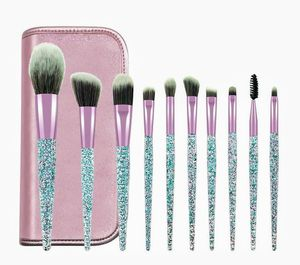 Makeup Brushes, Makeup Brush Set, 10 PCS Premium Crystal Handle Synthetic Essential Cosmetics Brush Kit with Leather Bag for Sale in Palatine, IL