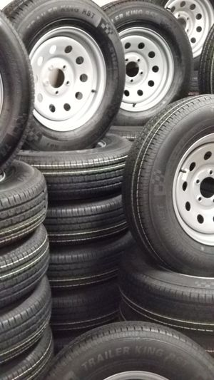 NEW TRAILER TIRES AND WHEELS STARTING AT $70+TAX AND UP TIRE/RIM ASSEMBLY SEE BELOW FOR SIZES AND PRICES for Sale in Douglasville, GA