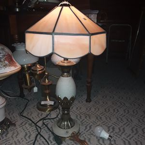 Selling ALL!! Beautiful antique vintage slag stained glass table lamp for Sale in Elyria, OH