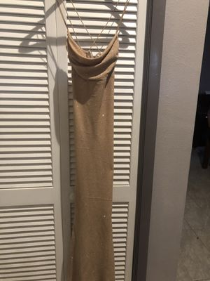 A Jodi kristopher long gold sparkly homecoming / prom dress for Sale in Tampa, FL