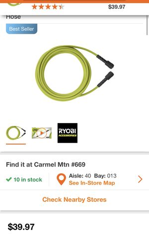 RYOBI 1/4 in. x 35 ft. 3,300 PSI Pressure Washer Replacement Hose for Sale in San Diego, CA