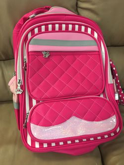 Warehouse sell Brand new Girls Rolling Backpack with separate trolley and pencil box for Sale in Avondale,  AZ