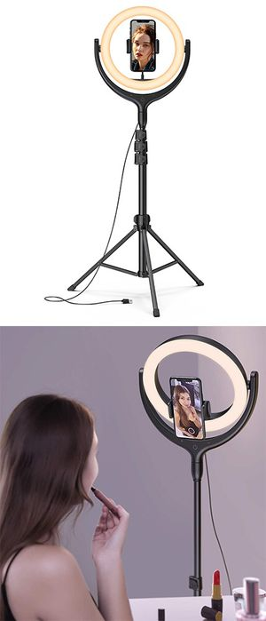 """New $45 LED 10"""" Selfie Ring Light w/ 67"""" Tripod Stand & Phone Holder for Makeup/Video/Photo for Sale in Whittier, CA"""