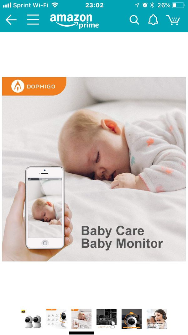 DophiGo Set of 2 1080P HD Dome 360° Wireless WiFi Baby Monitor Safety Home Security Surveillance IP Cloud Cam Night Vision Camera for Baby Pet Androi