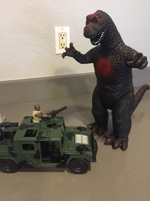 Godzilla, G.I. Joe with Jeep Please see description for pricing for Sale in Phoenix, AZ