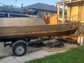 14ft Aluminum Boat Jet Jon With Trailer for Sale in Long Beach,  CA