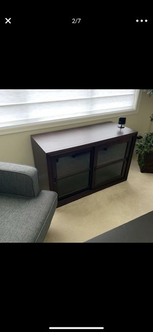 Crate And Barrell Burgundy Tv Console for Sale in South Hill, WA