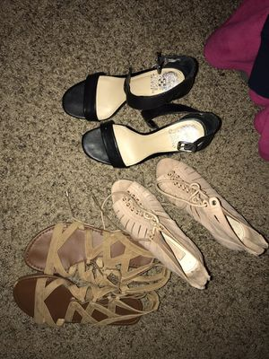 Pink/tan heels are 5.5 in good condition . Black heels are size 6 also in good condition. Sandals are 5.5 for Sale in Taylorsville, UT