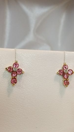 14K PINK SAPPHIRE AND DIAMOND EARRINGS for Sale in Leesburg, VA