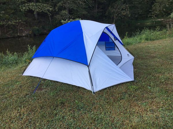 4P Camping Dome Tent White Blue