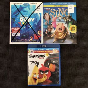 Blu-ray DVD set includes Angry Birds and Sing for Sale in Moreno Valley, CA