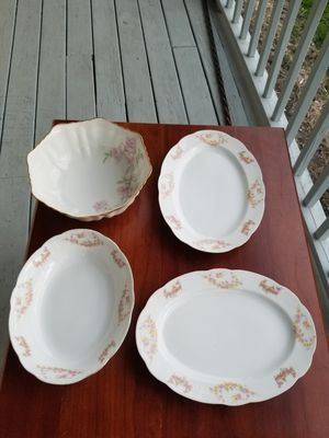 Vintage Antique Fine china, Japane porcelain pink roses serving deep & Flat Oval plates for Sale in Columbus, OH