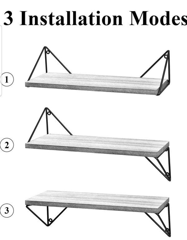 Rustic, Floating Shelves Set of 3 ((Wall Mounted)) for Living Room, Bedroom, Bathroom Gray
