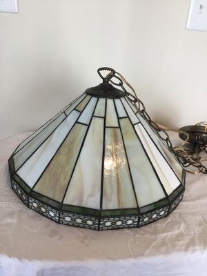 Vintage Mission Slag Glass Pendant Fixture Arts & Crafts Stain Glass Panel Light for Sale in Berlin, MD