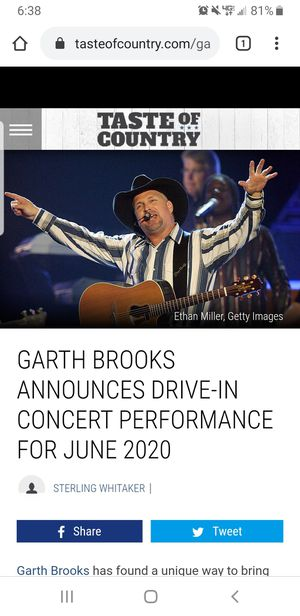 Garth Brooks drive in concert for Sale in Kennewick, WA