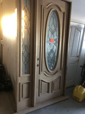 8 ' blonde oak door with side light for Sale in Helendale, CA