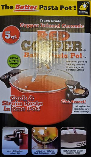 Red Copper 5QT Better Pasta Pot Cooker Copper Infused Ceramic New for Sale in Phoenix, AZ