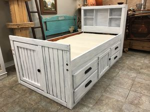 "Twin Size Wood Bed Frame ""4 Drawers & Compartments""Captain Style Rustic White Wood Shabby Chic for Sale in Tampa, FL"