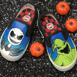Hand Painted Shoes! Perfect For Christmas Or Birthdays! Disney Nightmare Before Christmas, Disney Princesses Ariel, Pocahontas, Toy Story, Villains! for Sale in Riverside, CA