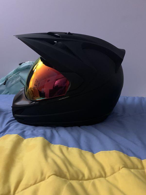 A dirt bike helmet
