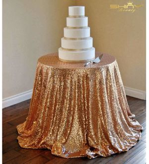"""120"""" Rose Gold Sequin table cloth for Sale in Chesapeake, VA"""