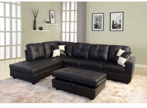 Black Leather Sectional and Ottoman for Sale in Vancouver, WA