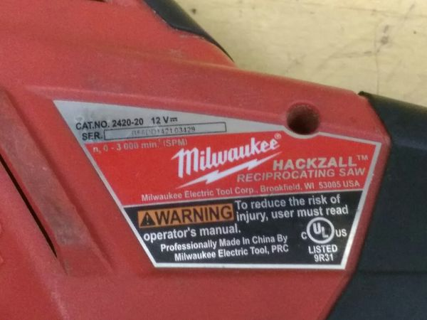 FOR PARTS - $19.99 - Milwaukee M18 12v Lithium Hackzall Cordless Reciprocating Sawzall no battery