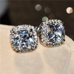 (FREE SHIPPING) Woman's Jewelry Brand New Manure Square White Diamond Earrings Wedding Band for Sale in Jordan, NY