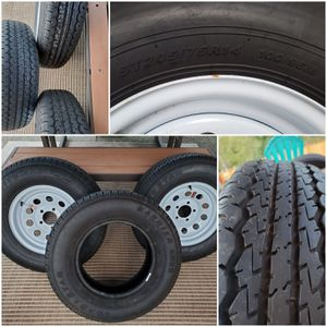 Trailer tires and white steel wheels 14x6 -- 5 on 4.5 for Sale in Puyallup, WA