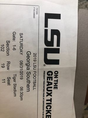 2 LSU Football Tickets , sect. 102 Row 19 for Sale in Baton Rouge, LA
