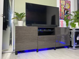 IKEA TV Stand Media Console Black/Brown Modern Glossy Doors for Sale in Miami, FL