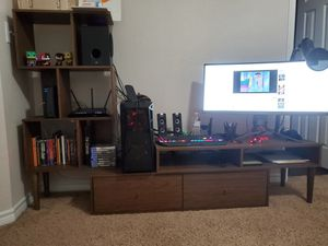 3 piece wooden wall unit w/ storage and bookshelves for Sale in Carrollton, TX