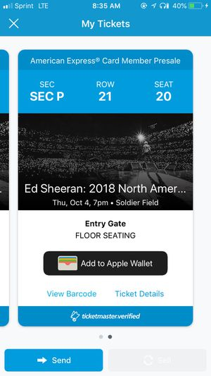 Ed Sheeran, Chicago, October 4th - two FLOOR seats (section P)! $125 Each or best offer for Sale in Chicago, IL