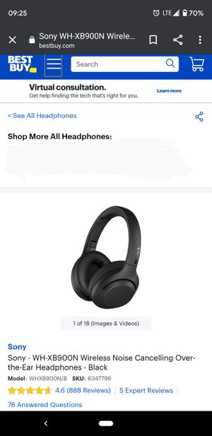 Sony- WH-XB900N wireless sound cancelling headphones with google assistant for Sale in Flagstaff, AZ