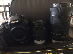 Nikon D3400 DSLR Camera- with two lenses (18-55mm and 70-300mm) for Sale in Alexandria, VA