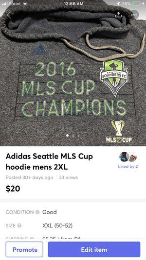 Adidas Seattle MLS Cup hoodie mens 2XL for Sale in Bethlehem, PA