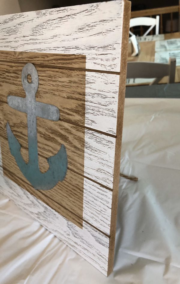 White & Tan Wood Anchor Sign