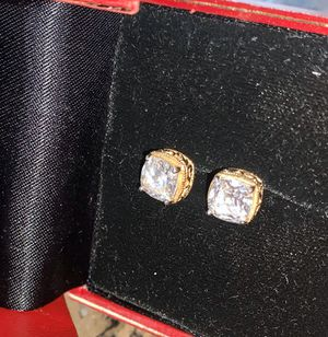 Pair of SPARKLING DIAMONIQUE Earrings - Gold Plated for Sale in Anaheim, CA