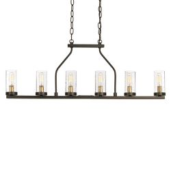 Progress Lighting Hartwell 34 in. 6-Light Antique Bronze Island Chandelier with Clear Seeded Glass and Natural Brass Accents for Sale in Dallas,  TX