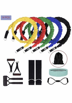 Daying 14 PCS Resistance Bands with Handles, Stackable Exercise Bands Kit, Nylon Sleeves Anti-Break Fitness Extreme Workout Equipment Set Total-Body for Sale in El Monte, CA