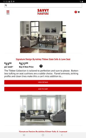 Signature Design by Ashley Tibbee Slate Sofa and Loveseat Set for Sale in Farmers Branch, TX