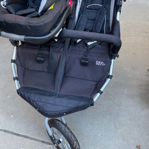 Double Running Stroller With Baby Infant Chair And Booster Easily Attaches To Car Seat West Covina Area for Sale in West Covina, CA
