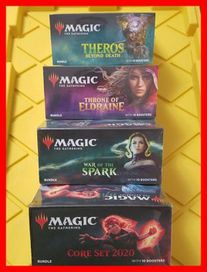 Magic the gathering War of the spark, Core 2020, Throne of Eldraine, or Theros Beyond Death fat pack bundle for Sale in San Diego, CA