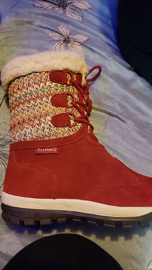 Bearpaw cross stitch red suede boots for Sale in Waynesboro, VA