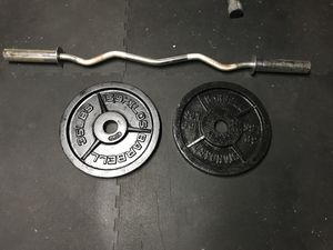 Curl bar and weights for Sale in Dover, NJ