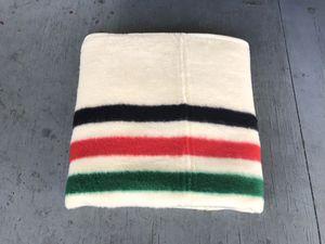 RARE Vintage 80s Biederlack Hudson Bay Style Striped Ivory Soft Blanket Throw cobija for Sale in Santa Ana, CA