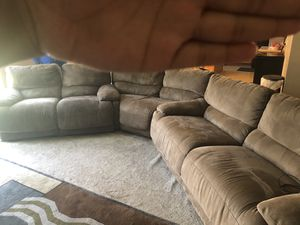 Brown sectional 4 electric recliners for Sale in Pickerington, OH