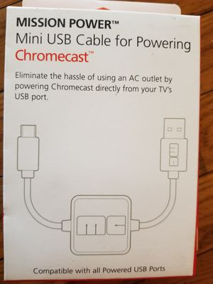 Mission Power USB Cable for Chromecast for Sale in Parkersburg, WV
