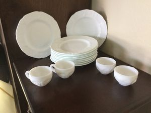 8 Vintage Milk Glass, grape pattern and 4 extra cups for Sale in Gilbert, AZ