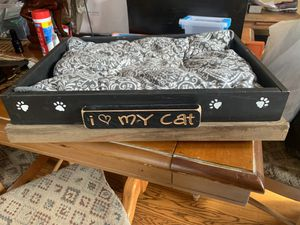 """Handmade """"I love my cat"""" wooden cat bed with removable and washable cushion for Sale in Takoma Park, MD"""